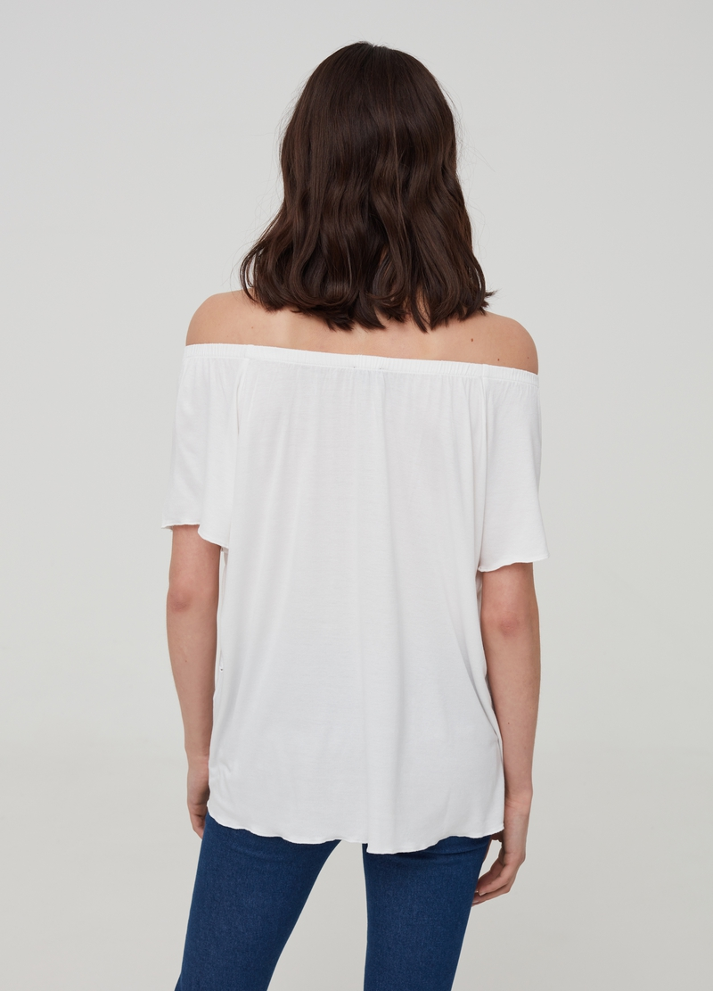Viscose T-shirt with Sangallo details image number null