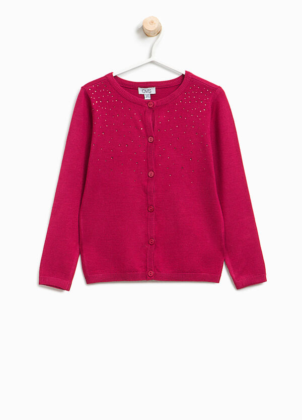 Viscose cardigan with diamantés | OVS