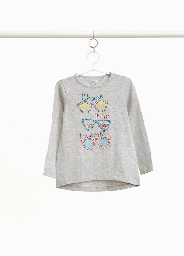 Stretch cotton T-shirt with glasses print