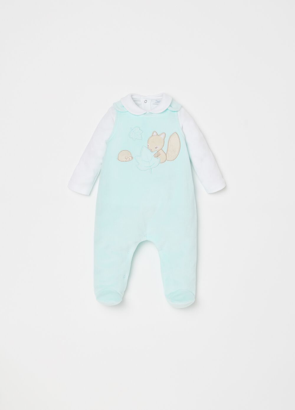 Top and dungarees set with feet and embroidery