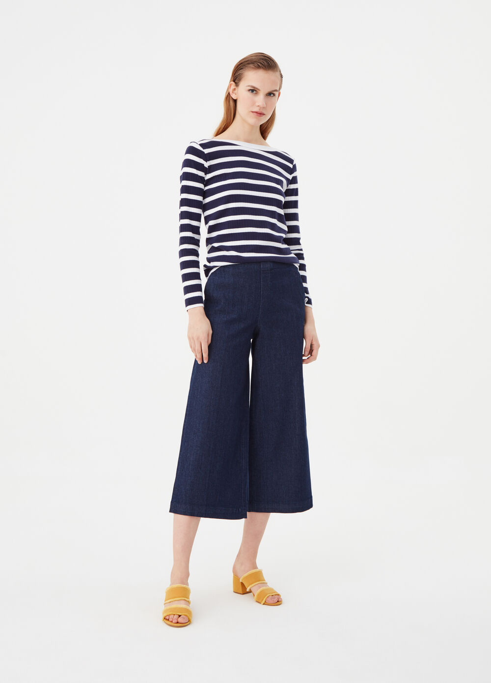 Stretch culotte jeans with welt pockets