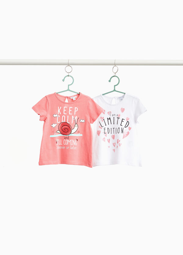 Set due t-shirt cotone stampa lettering