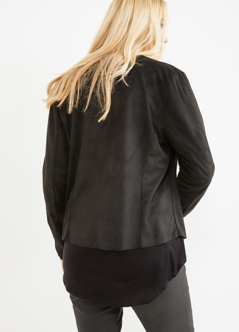 Curvy leather-look jacket with shawl neck image number null