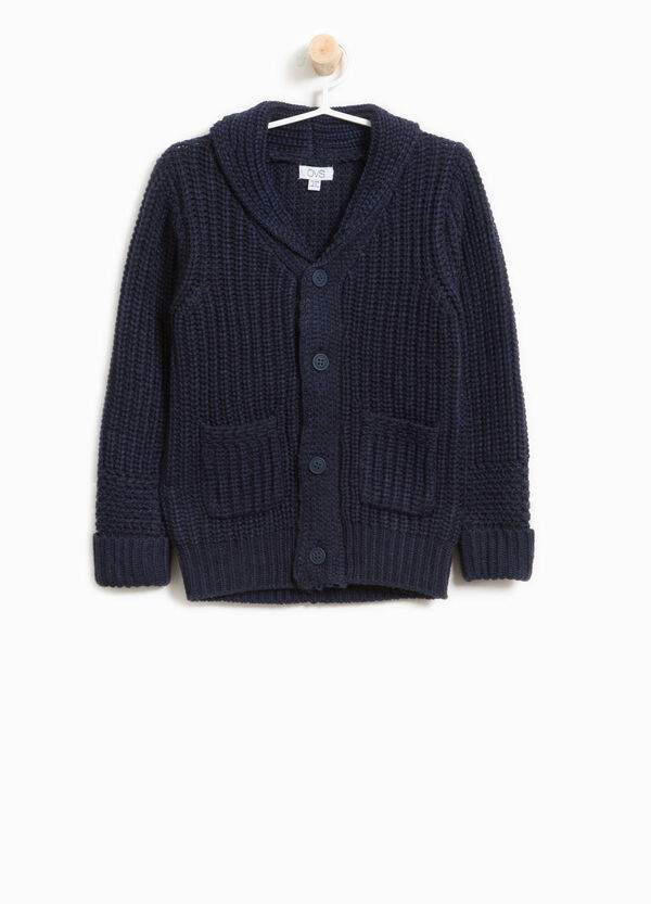 Knitted cardigan with striped weave | OVS