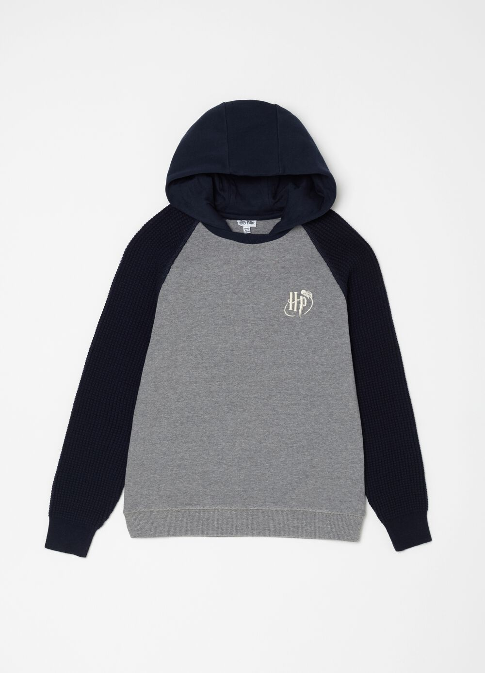 Sweatshirt with knitted sleeves