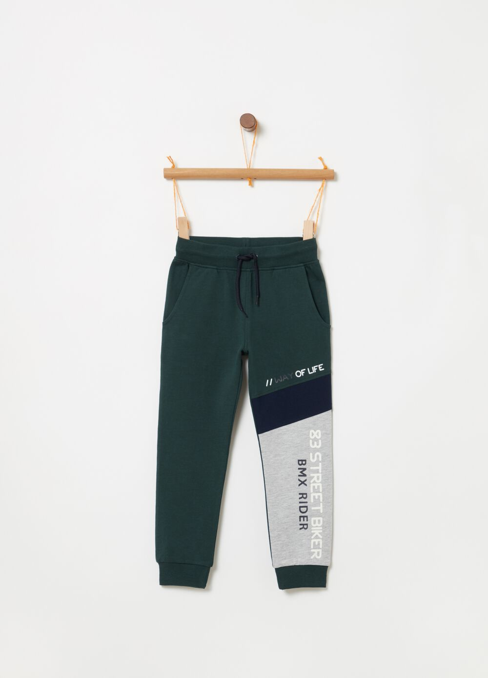 Pantaloni jogger French Terry con stampa
