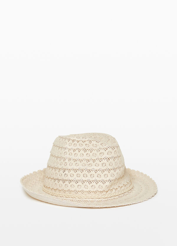 Openwork floral hat with turn-up