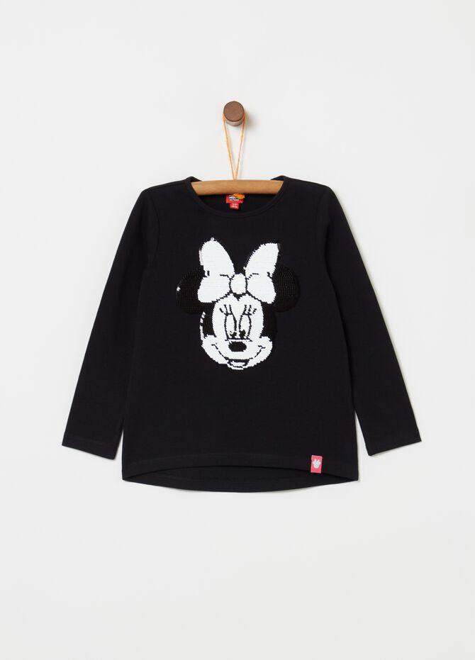 T-shirt in puro cotone con perline Minnie