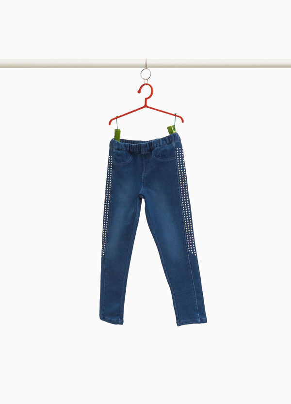 Stretch jeggings with studs and fading