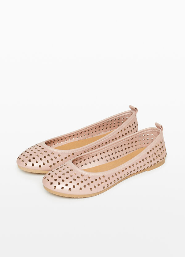 Ballerina flats with openwork upper