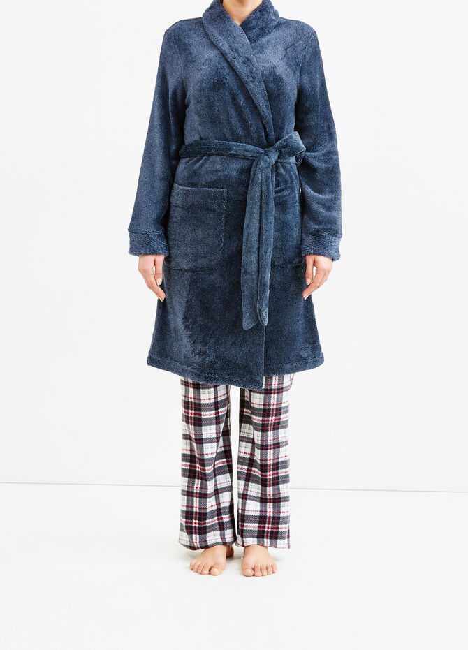 Solid colour dressing gown with belt