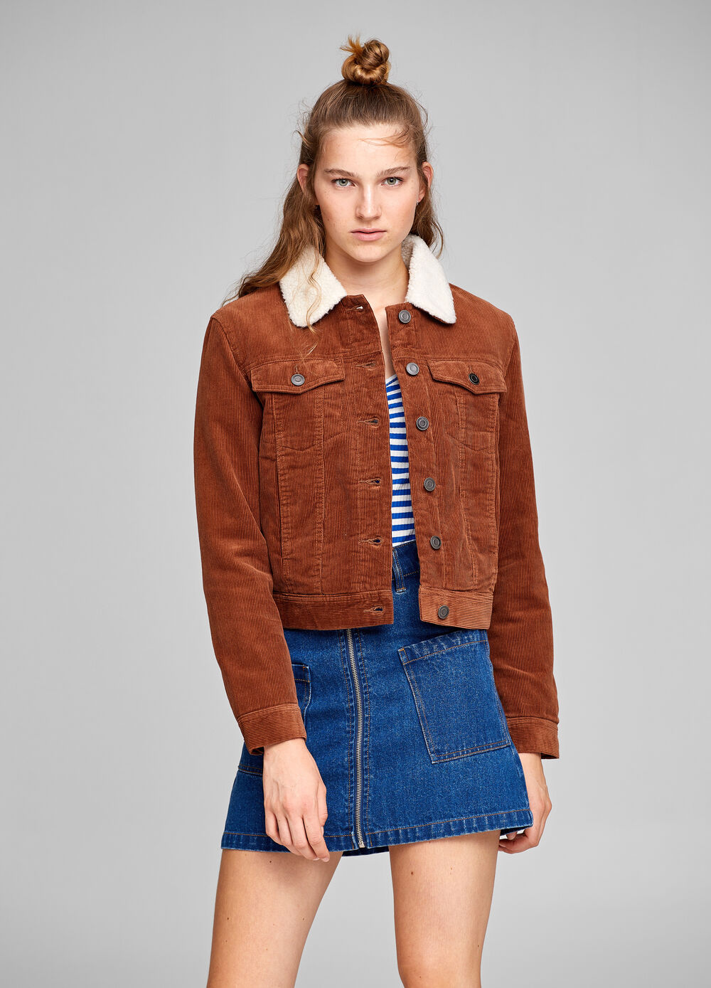 100% cotton jacket with striped weave