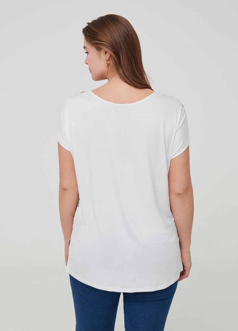 T-shirt pura viscosa a righe Curvy image number null