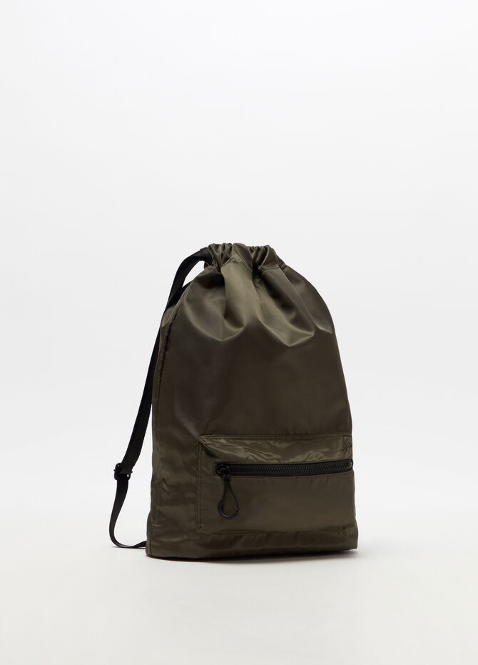 Solid colour backpack with pocket and drawstring