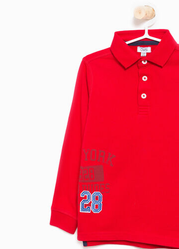 Cotton polo shirt with patch and printed lettering