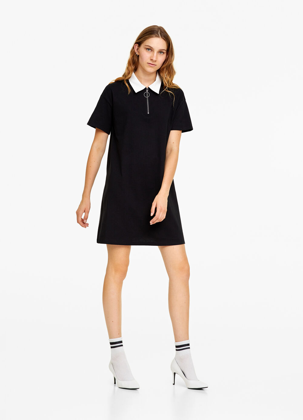 100% cotton dress with collar