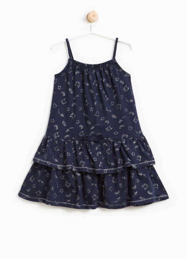Dress with glitter pattern and flounces | OVS