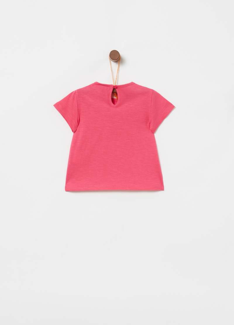 Organic cotton T-shirt with floral embroidery image number null