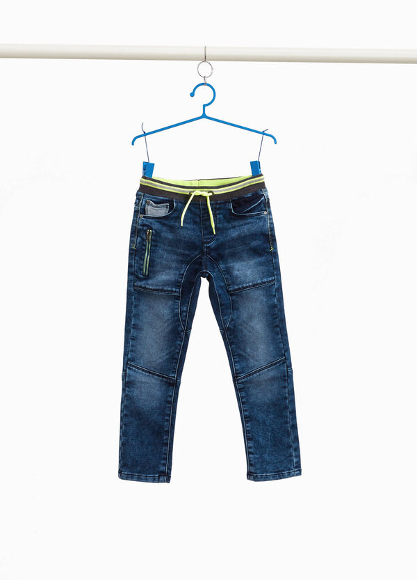 Jogger-fit jeans with striped waist