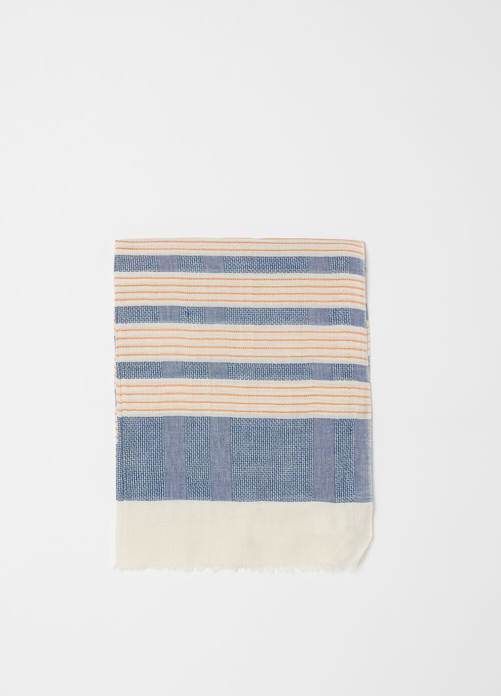 Yarn-dyed striped scarf