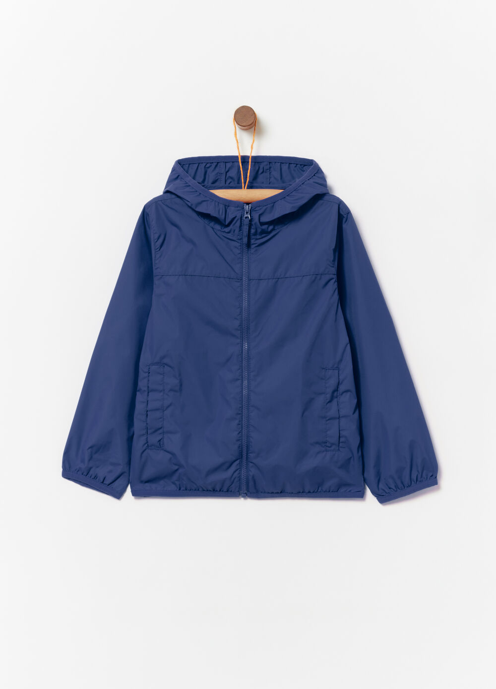 Unlined nylon rain jacket