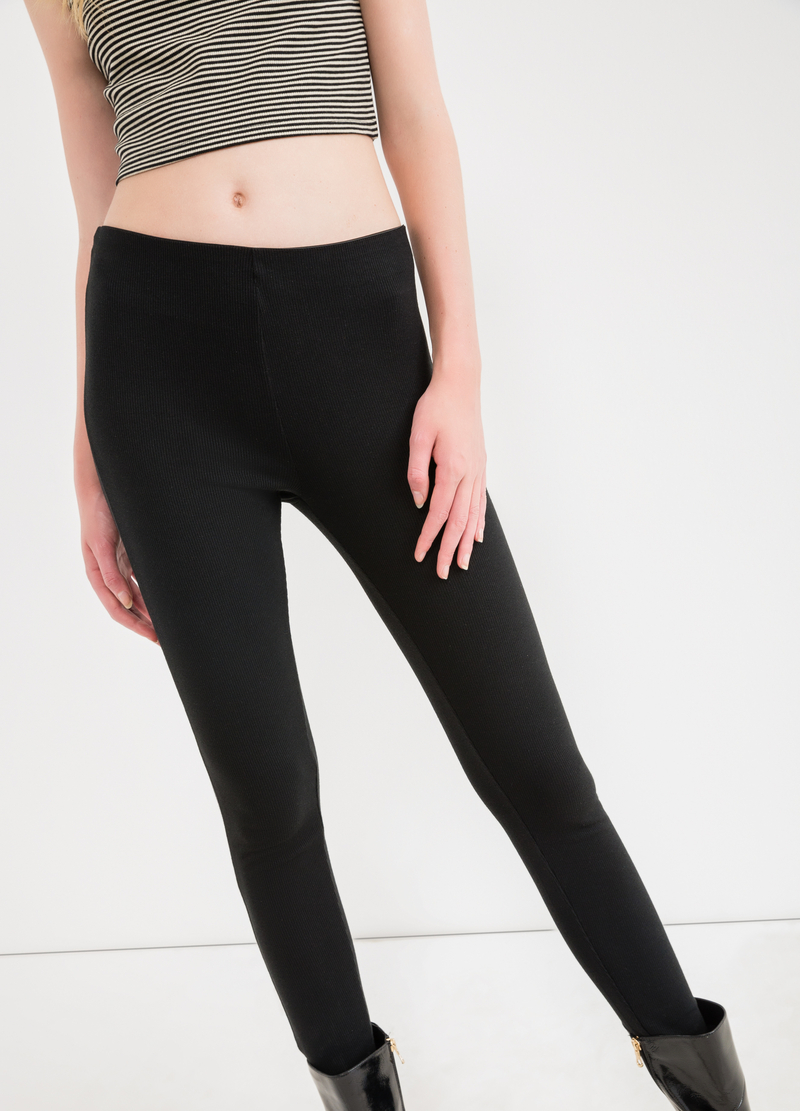 Solid colour stretch ribbed leggings image number null