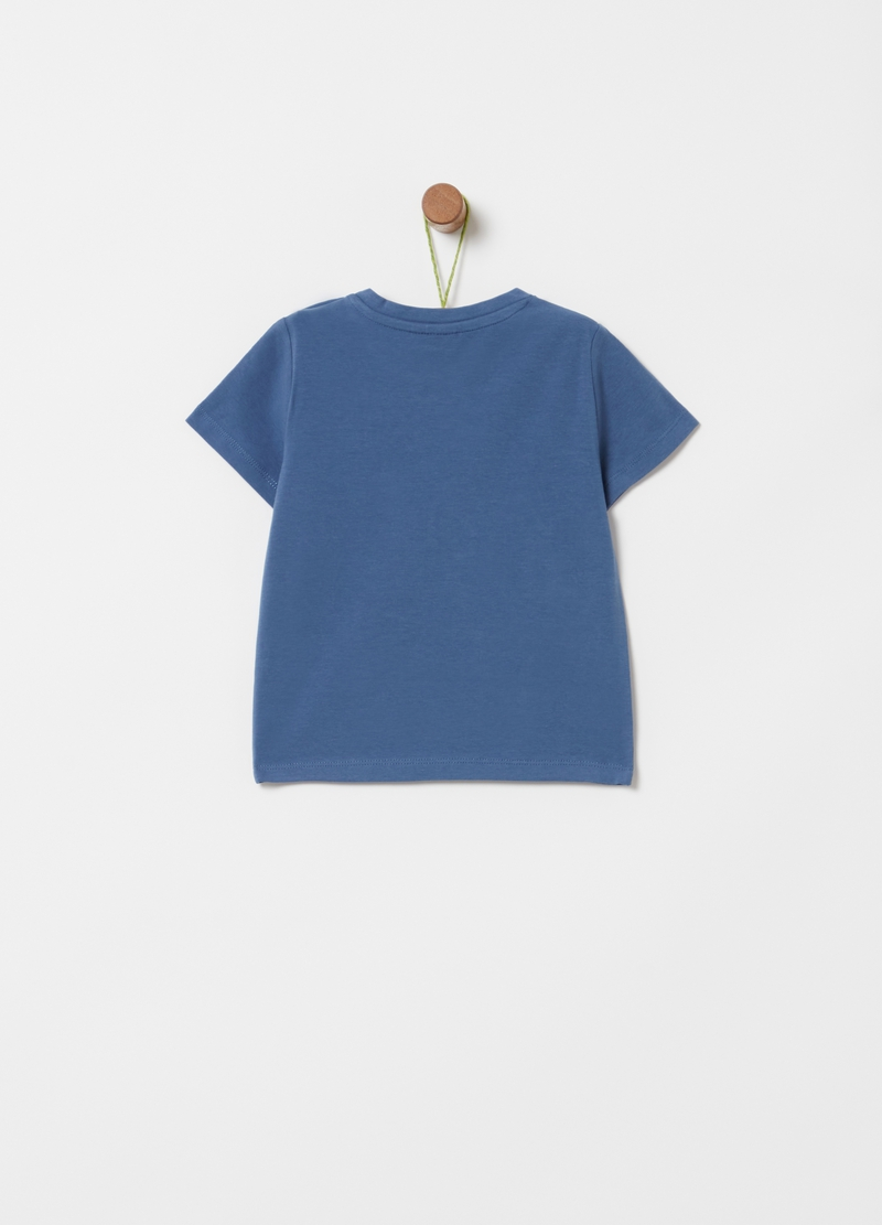 Stretch cotton T-shirt with fish print image number null