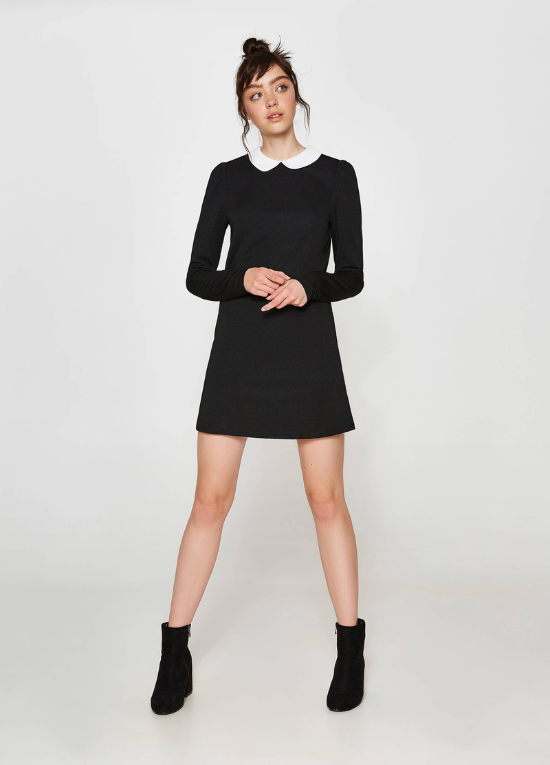 Stretch dress with striped weave and collar image number null