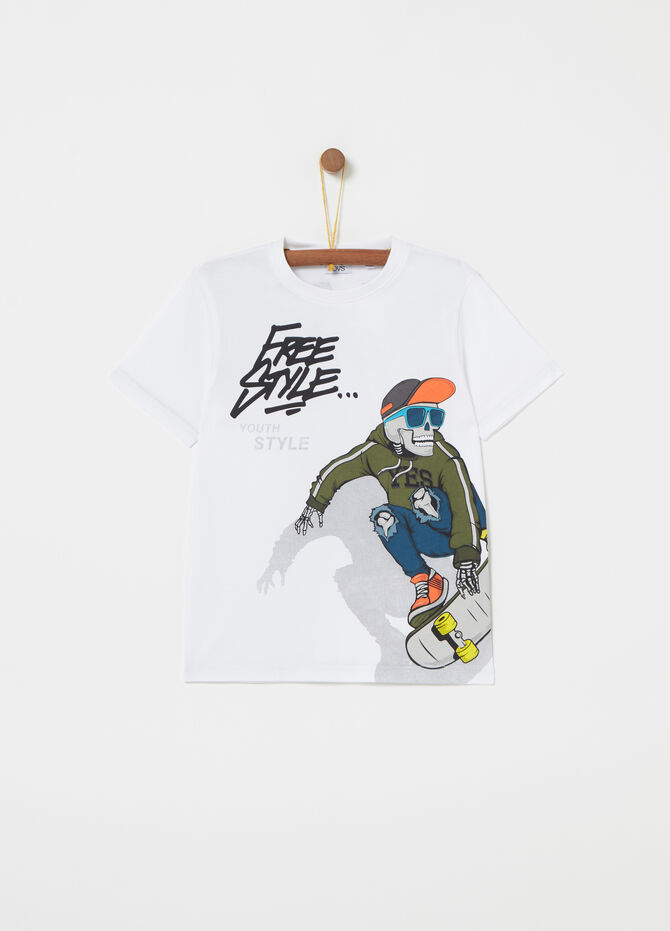 Jersey T-shirt with skater print