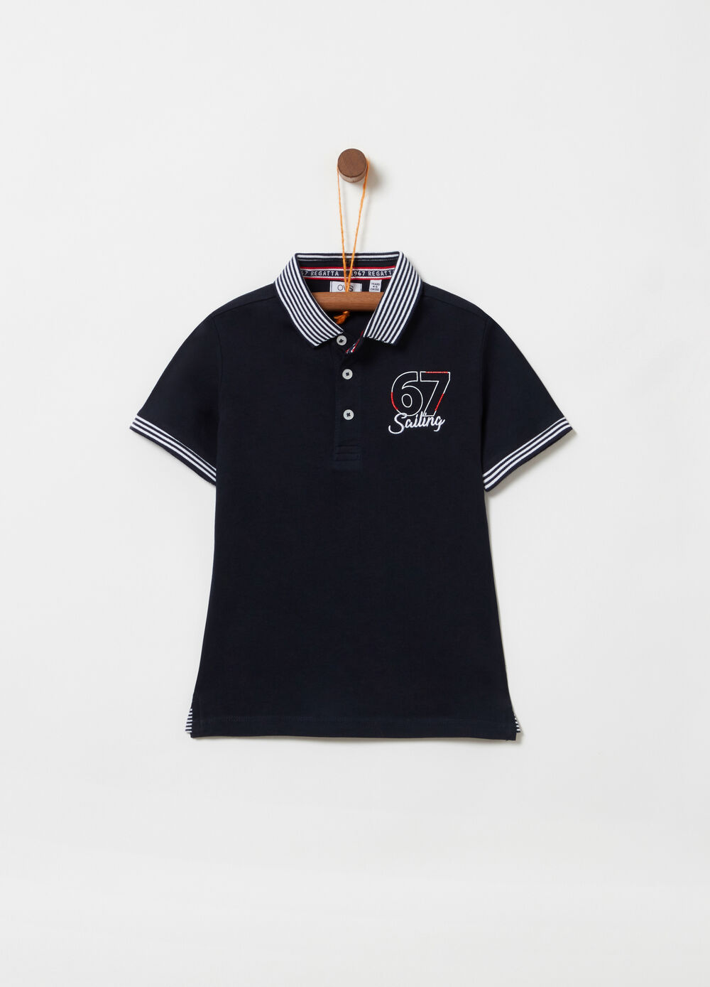 Polo shirt in 100% cotton with striped ribbing