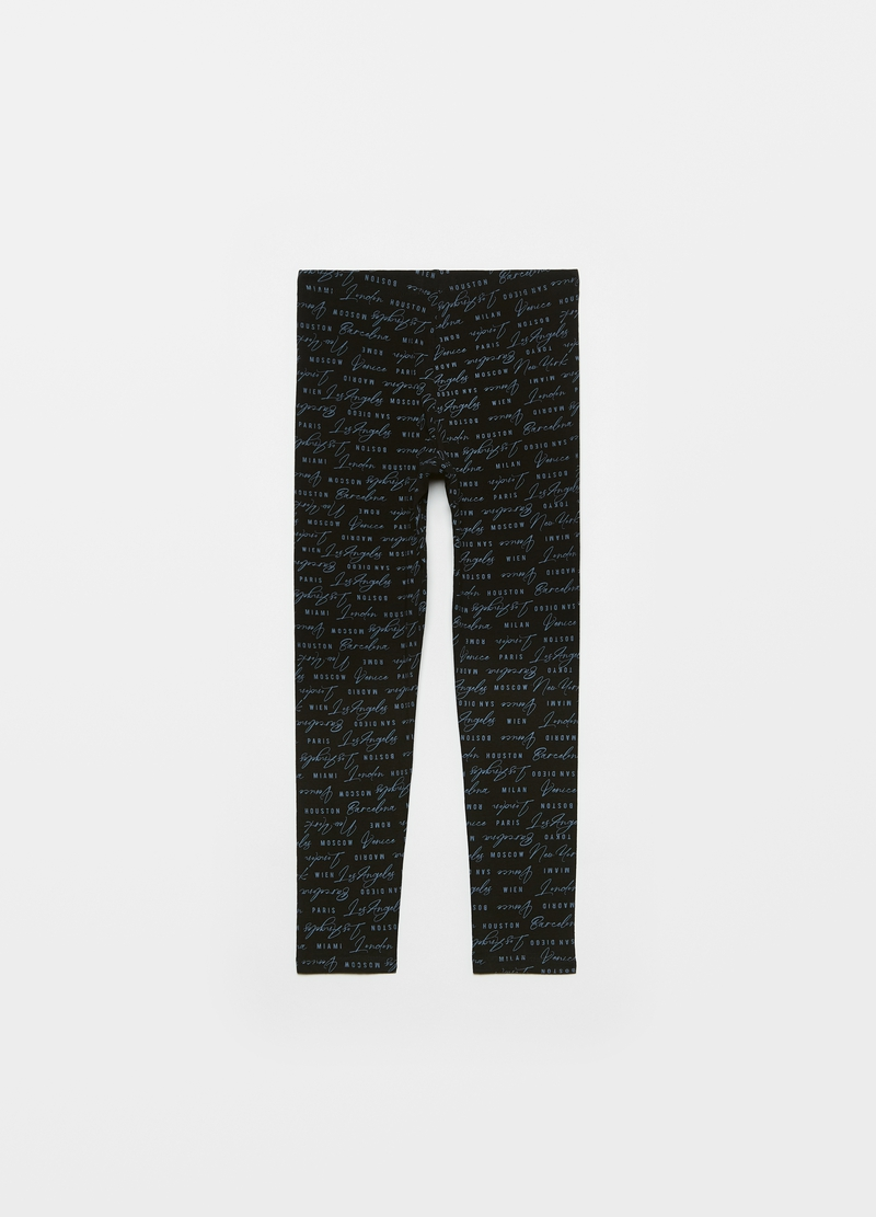 Leggings con stampa lettering all-over image number null