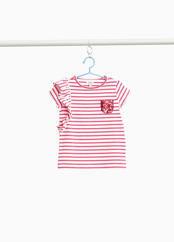 Stretch cotton T-shirt with stripes and flounce