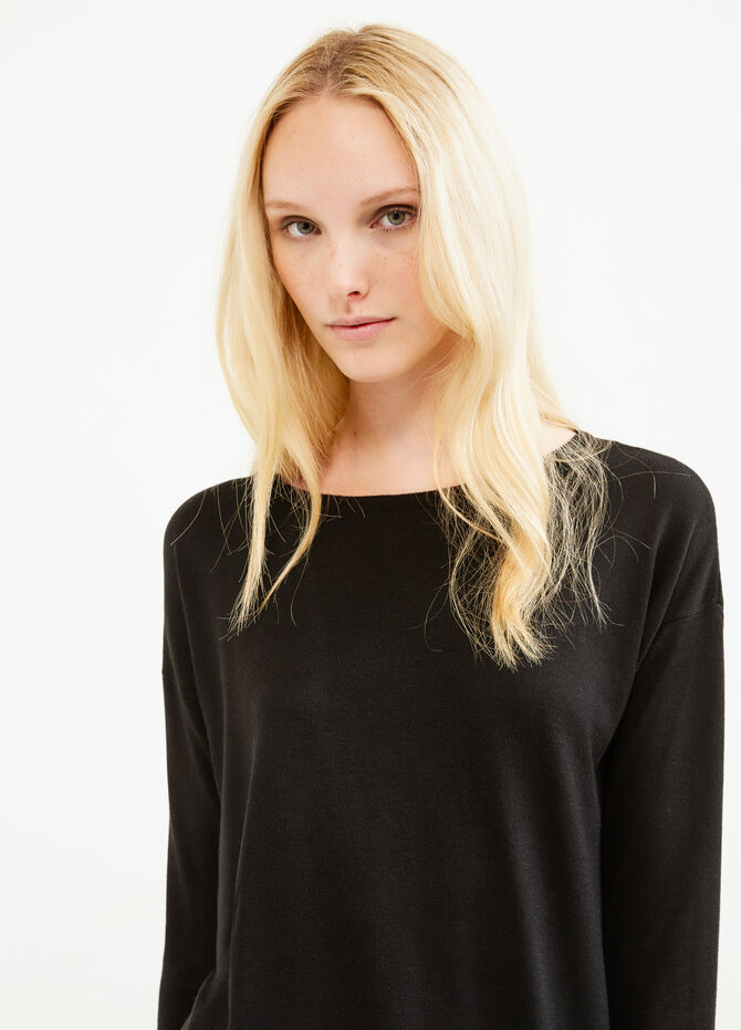 Viscose pullover with asymmetrical hem