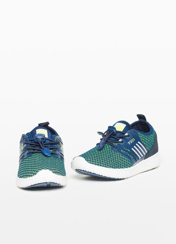 Knitted canvas sneakers with geometric pattern