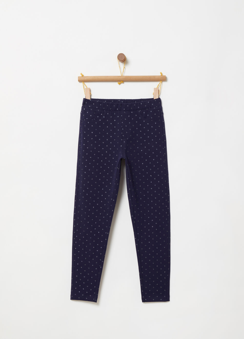 French terry jeggings with all-over print
