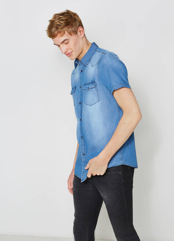 Casual denim shirt with faded effect