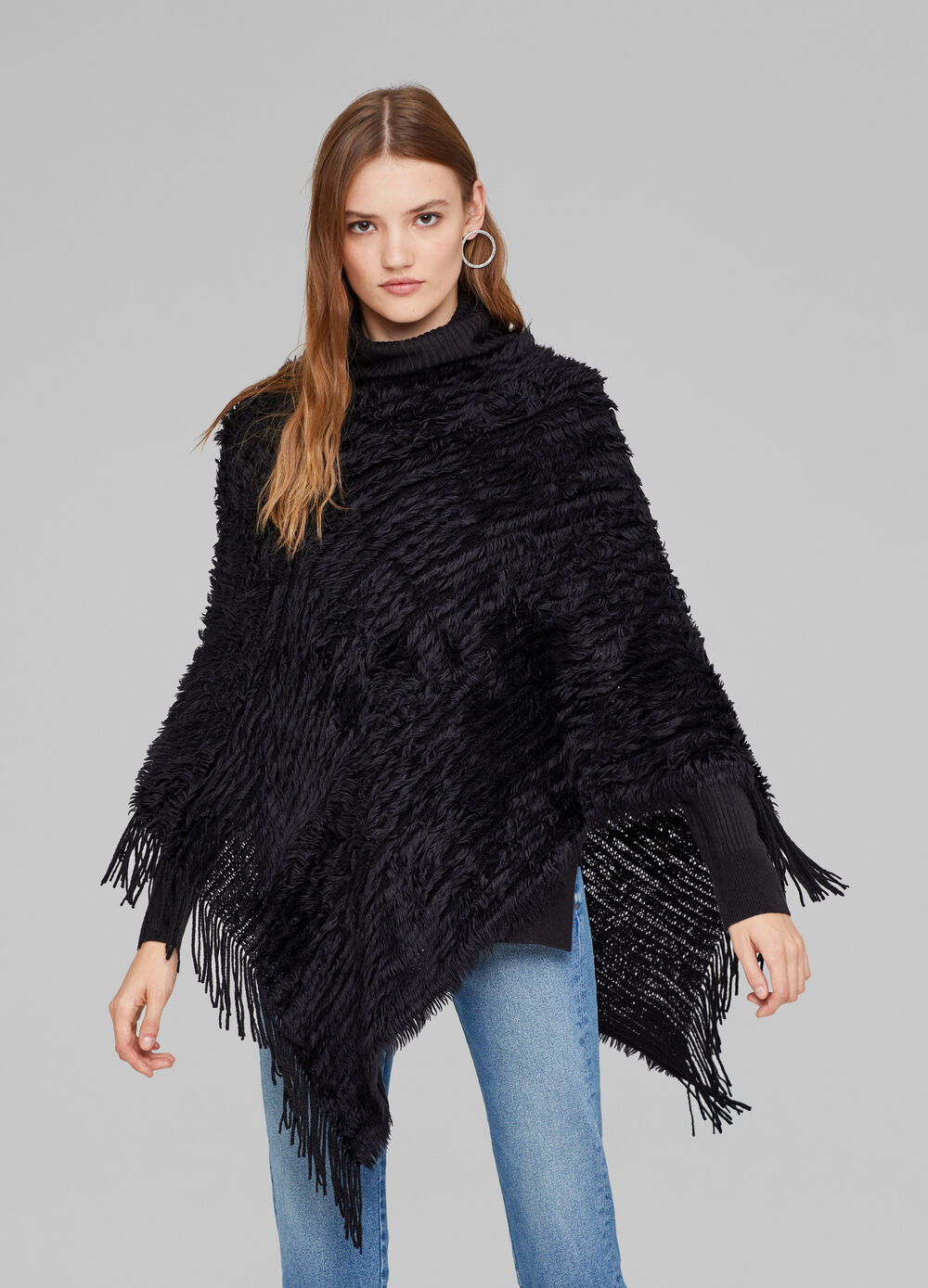 Synthetic fur poncho