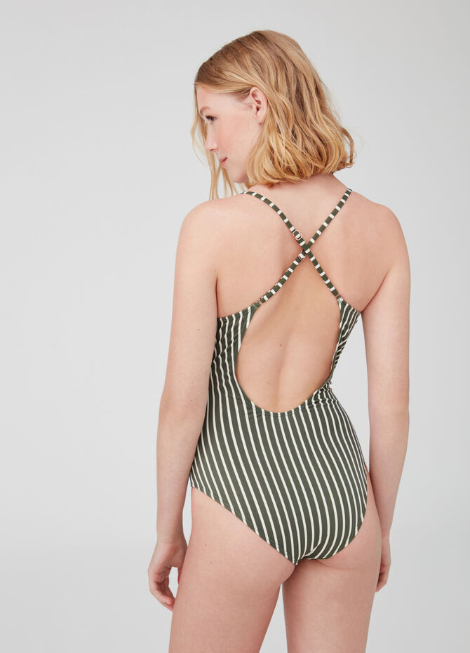One-piece swimsuit with striped crossover V-neck