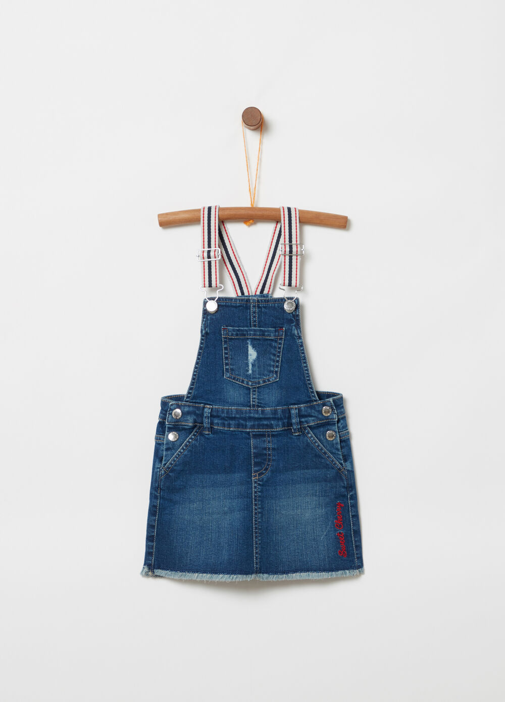 Overall skirt with striped stretch braces