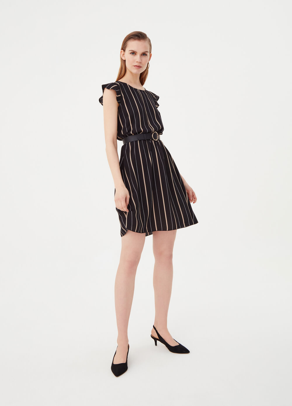 Stretch dress with elastic waistband and belt