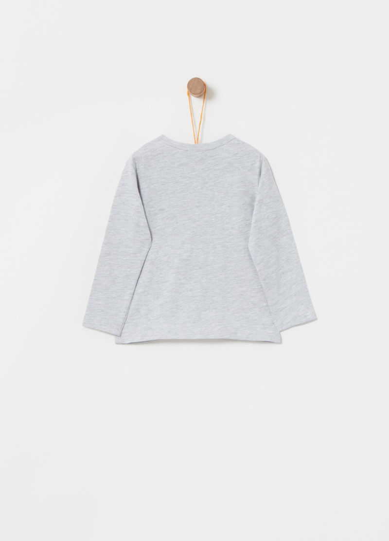 Mélange T-shirt with round neck and patch image number null