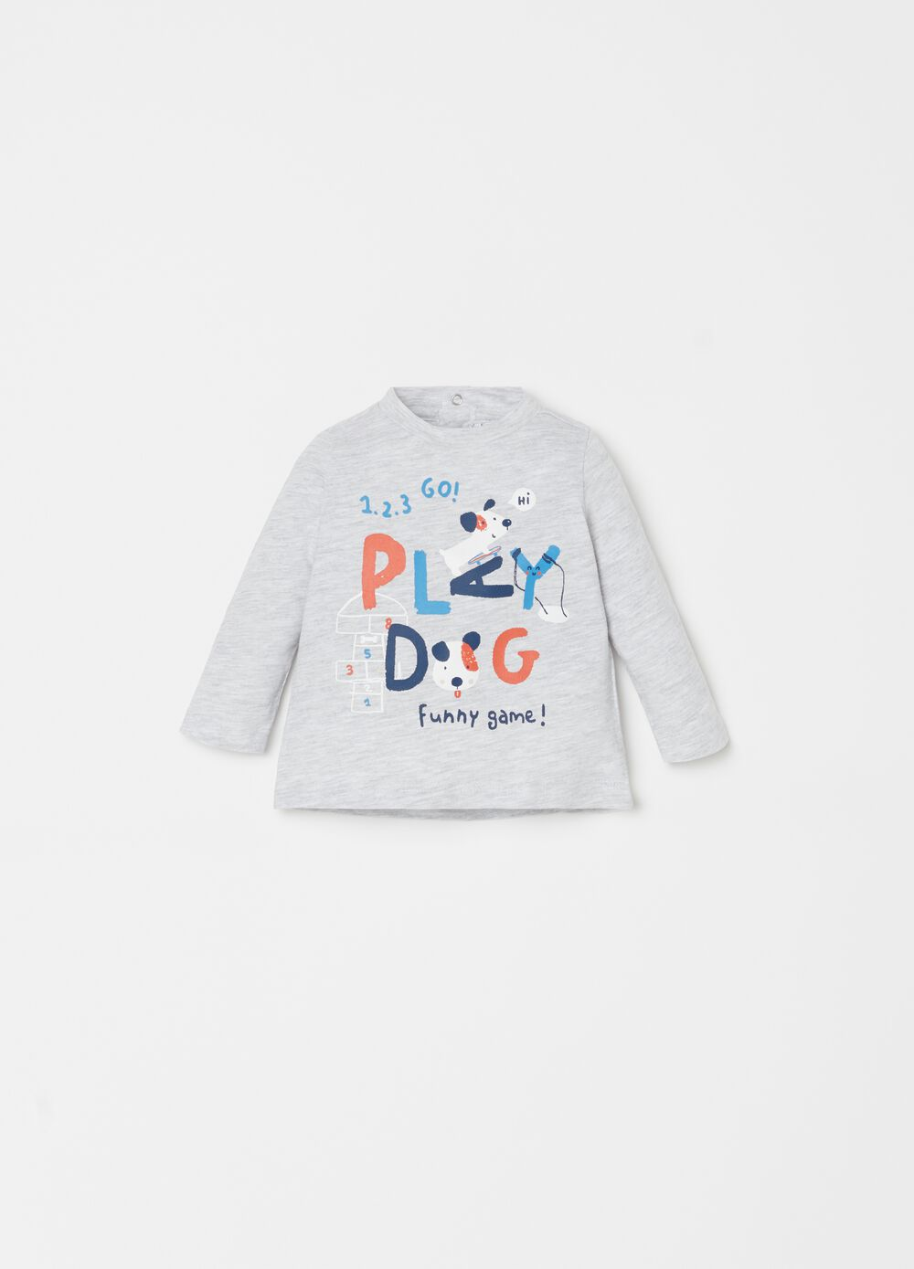Organic cotton mélange T-shirt with puppies