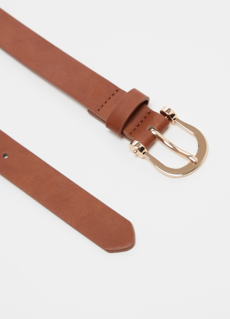 Leather-look belt with rounded buckle image number null