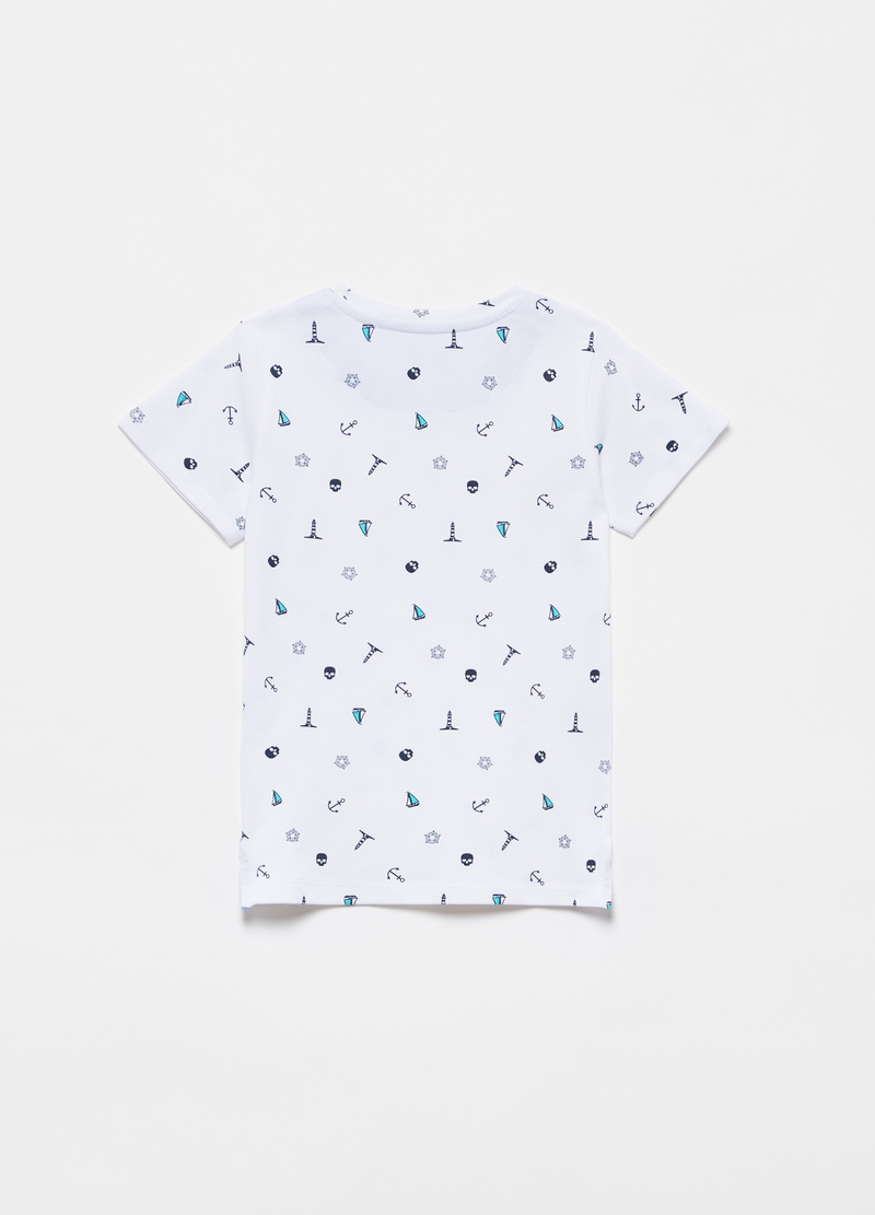Stretch cotton T-shirt with patterned print image number null