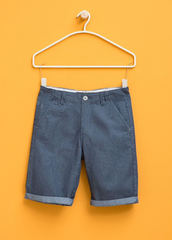 Stretch cotton Bermuda shorts with turn-up   OVS
