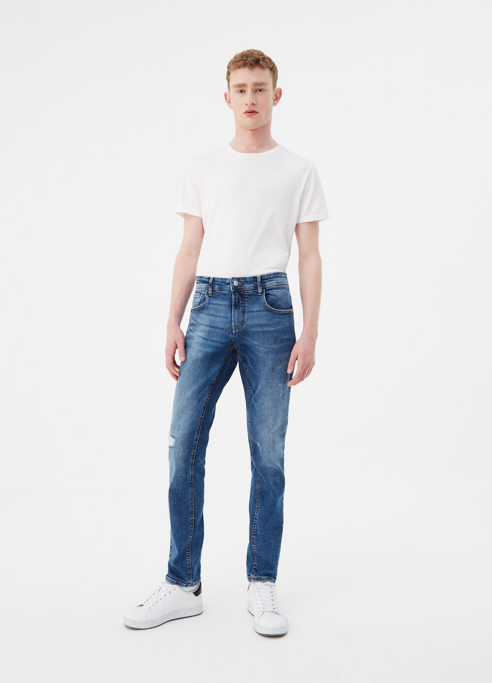 Jeans slim fit stretch effetto vintage