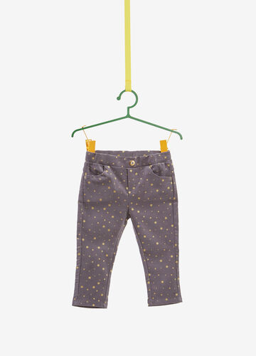 Stretch cotton trousers with stars pattern