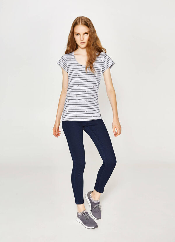 T-shirt in cotone stretch fantasia