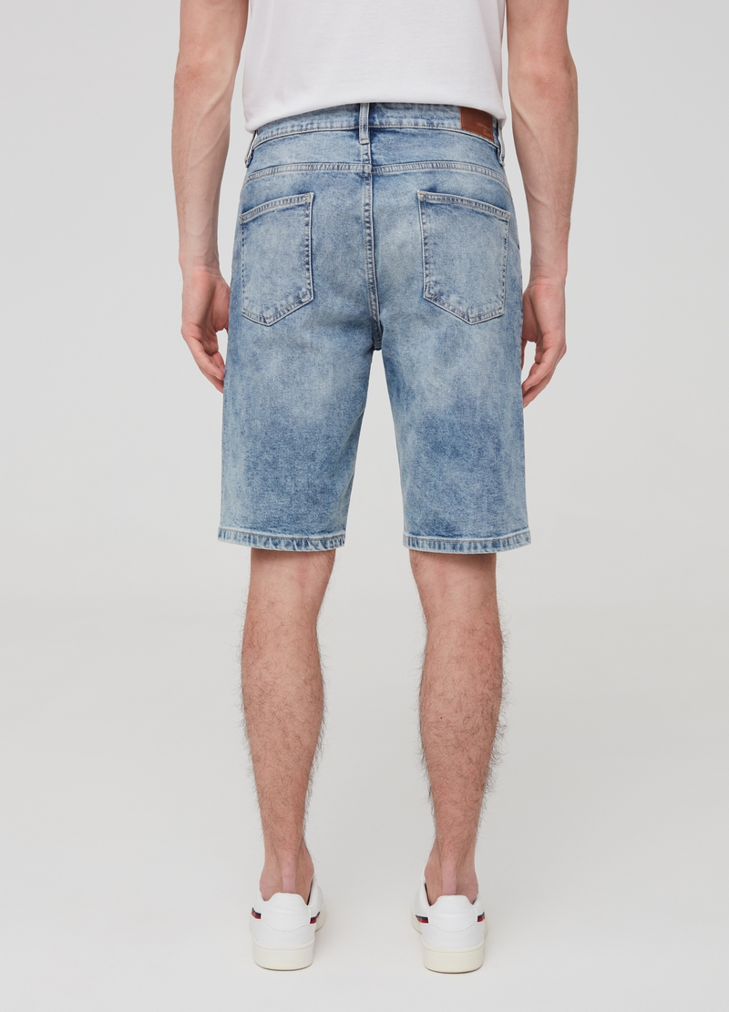 Straight-fit denim Bermuda shorts image number null