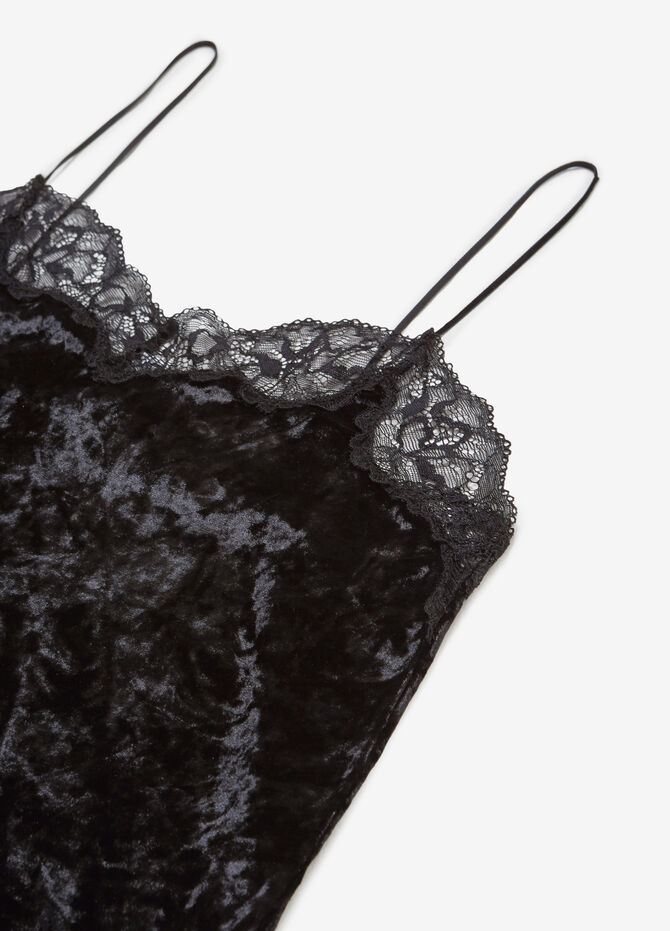 Top intimo in velour stretch con pizzo